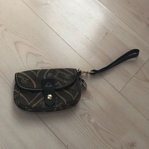 Dooney & Bourke wristlet canvas leather trim
